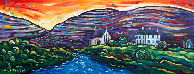 Painting of river and church in the Caher valley