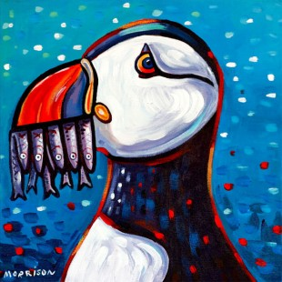 Puffin with mackerel