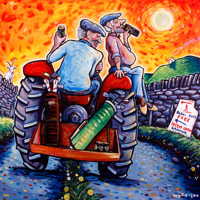 Painting of two farmers heading to the Irish Open on a tractor