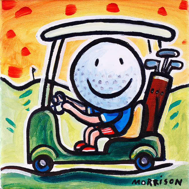 Painting of a golf ball driving a golf buggy