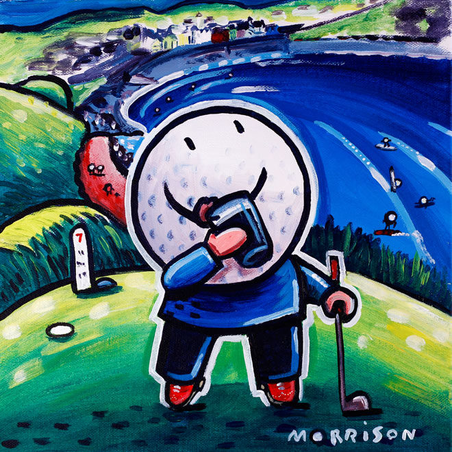 Painting of a golf ball drinking a pint