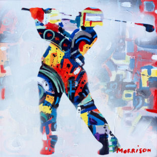 Abstract painting of a golfer