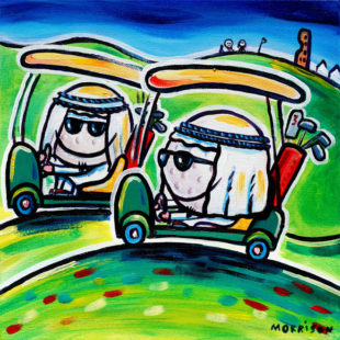 painting of arabs on golf buggies