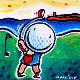 Painting of a golf ball swing with a golf club