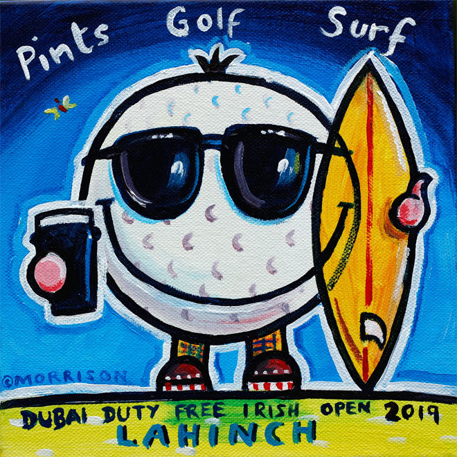 Painting of golf ball holding a pint and a surfboard