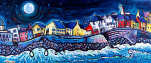 Painting of a Lahinch night scene with surfers