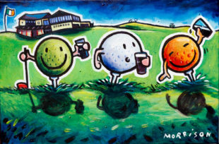 Painting of three golf balls sitting on tees