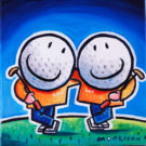 Painting of two golf ball characters